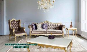Set sofa tamu klasik gold duco merry kahrevengi Sst-385