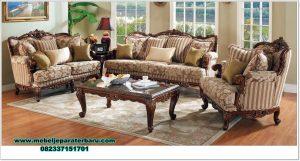 sofa ruang tamu kayu jati ukiran mewah Sst-402