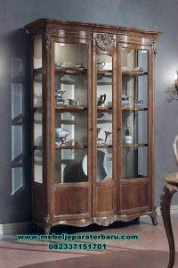 harga lemari hias kaca kayu jati klasik jepara terbaru lh-078