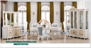 Set meja makan putih mewah mahogany furniture Smm-390