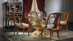 meja makan bulat 4 kursi mewah klasik art design smm-416