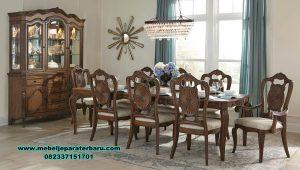 set meja makan kaca kayu jati mewah klasik smm-424