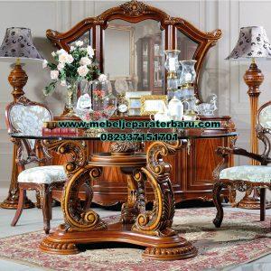 set meja makan kayu jati klasik mewah jepara terbaru smm-420