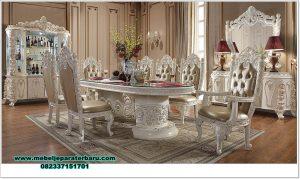 inspirasi long dining room set luxury duco carving smm-428