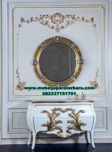 meja rias konsul dan pigura kaca mewah klasik mrk-207