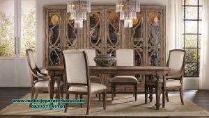 set meja makan jati klasik elegant 6 kursi smm-436