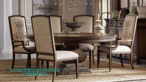 set kursi meja makan bulat klasik mahoni smm-441