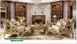 Sofa ruang tamu mewah lux rose gold model terbaru Sst-462